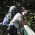 Nicolas sur la passerelle du ruisseau de Marmano