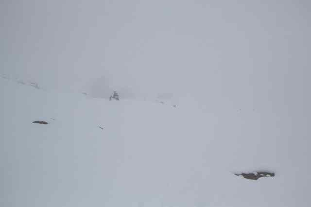 Refuge de la Croix-du-Bonhomme (2433 m) dans le brouillard